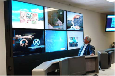 control room console and video wall