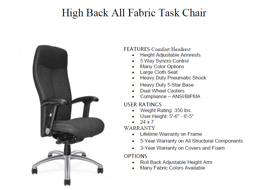 ... High Back Task Chair ...