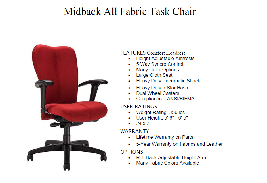Mid Back Task Chair ...